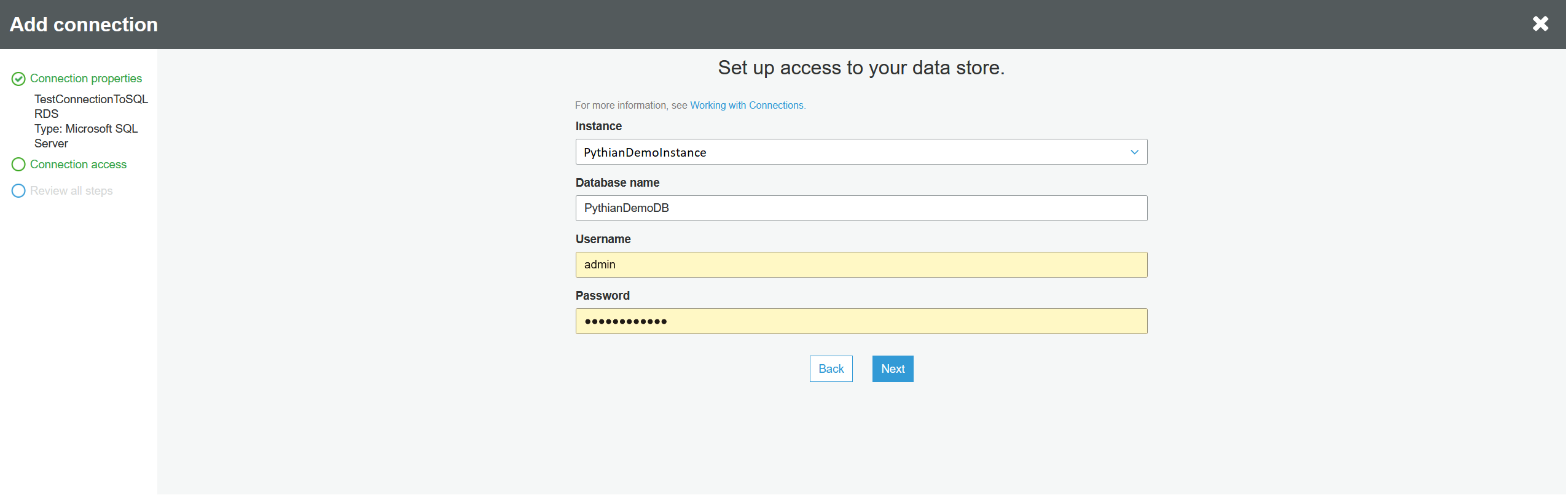 Selecting instance and database.