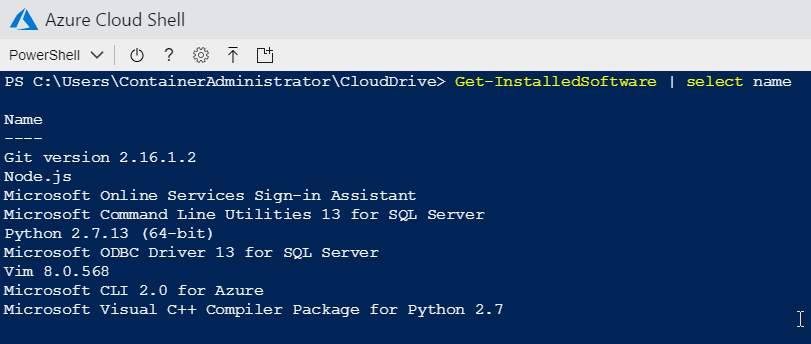 Azure Cloud Shell - Installed programs